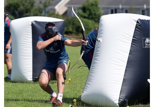 Munster rugby squad pre-season archery-tag team building activities at Nevsail Limerick