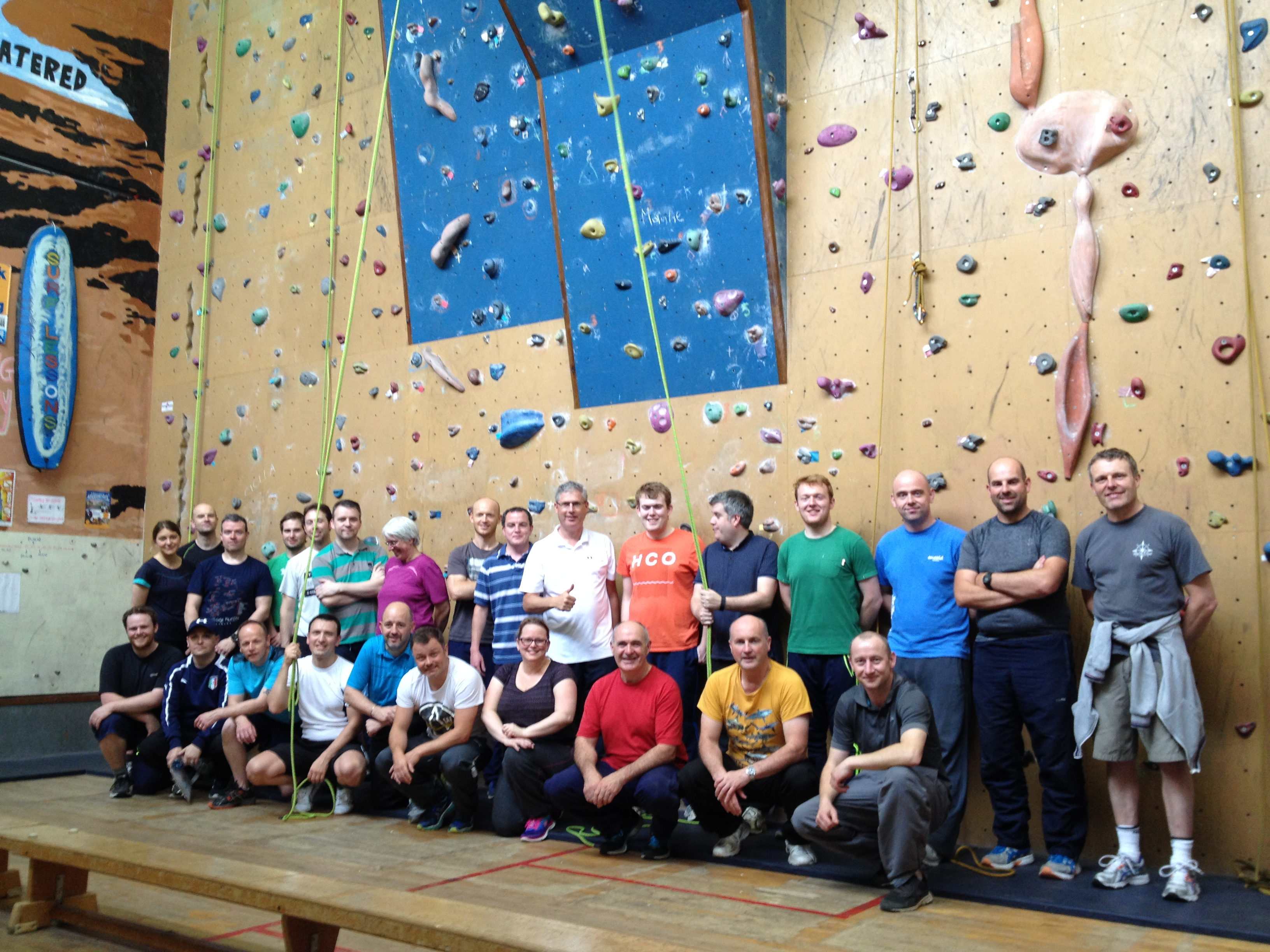 Corporate Group Outings enjoying Nevsails Limerick Rock Climbing Wall