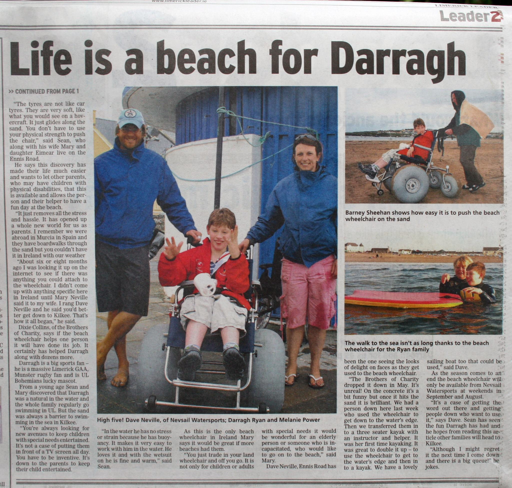 Beach Access for Wheelchair users, Kilkee Nevsail Watersports
