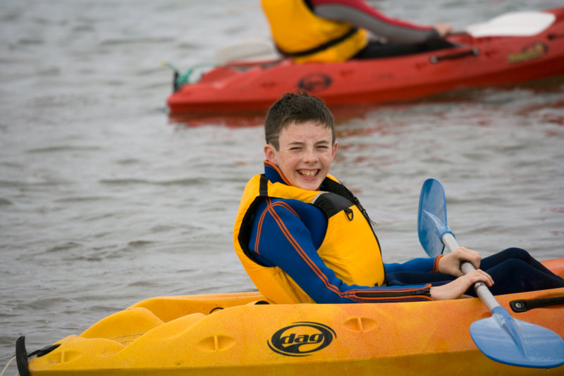 big smiles and huge laughs kayaking at Nevsail Watersports